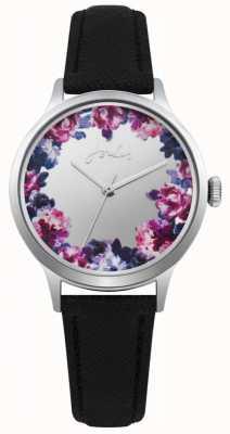 Joules Bracelet joules femme en cuir noir avec cadran floral argenté JSL005B