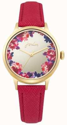 Joules Bracelet en cuir rouge joules pour femme avec cadran multicolore argenté JSL005PG