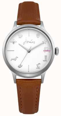 Joules Cadran blanc avec bracelet en cuir beige joules pour femme JSL011T