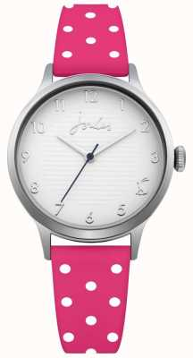 Joules Bracelet en silicone à pois rose pour femme, cadran argenté JSL009P