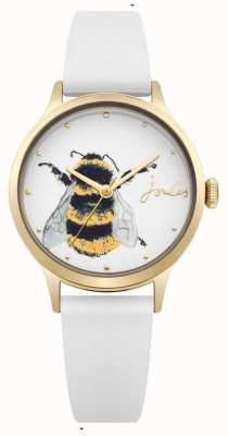 Joules Bracelet en silicone blanc pour femme, cadran blanc avec abeille JSL010WRG