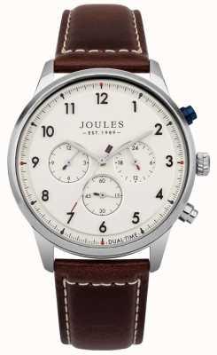 Joules Bracelet cadran chronographe crème en cuir marron pour homme, couleur crème JSG007BR