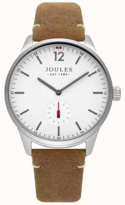 Joules Bracelet pour homme en cuir beige avec cadran blanc mat JSG005T