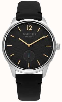 Joules Bracelet pour homme en cuir noir avec cadran gris mat JSG005B