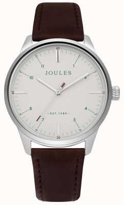 Joules Bracelet cadran crème mat pour homme en cuir marron JSG002BR