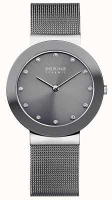 Bering Bracelet en maille de céramique grise cadran gris 11435-389
