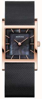 Bering Bracelet en maille noire pour femme avec cadran en nacre noire 10426-166-S