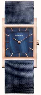 Bering Bracelet en maille bleue cadran en nacre bleue 10426-367-S