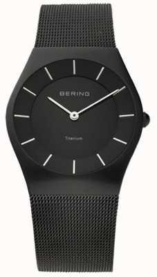 Bering Mens classique en acier inoxydable mesh noir 11935-222