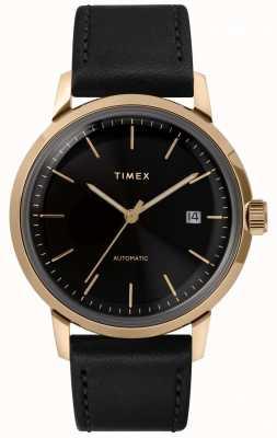 Timex Bracelet pour homme en cuir noir avec cadran noir TW2T22800