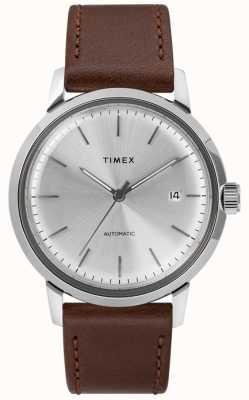 Timex Bracelet pour homme en cuir marron automatique avec cadran argenté TW2T22700