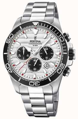 Festina Cadran en acier inoxydable chronographe blanc-noir pour homme F20361/1