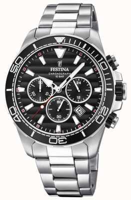 Festina Cadran noir chronographe en acier inoxydable pour homme F20361/4