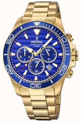 Festina Cadran bleu chronographe en acier inoxydable pour homme F20364/2