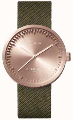 Leff Amsterdam Montre tube d38 | cordura or rose | sangle verte LT71034