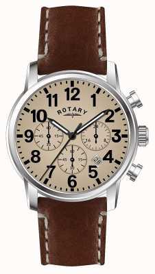 Rotary Cadran blanc avec bracelet en cuir et quartz pour homme GS00430/31