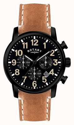 Rotary Bracelet pour homme en cuir chronographe quartz avec cadran noir GS00433/04