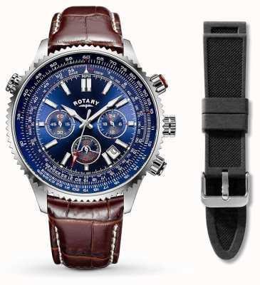 Rotary Cuir marron en acier inoxydable pour hommes + bracelet en caoutchouc noir GS00699/05/KIT