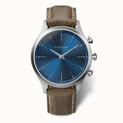 Kronaby Hommes sekel 41 | cadran bleu | bracelet en cuir truffe A1000-3759