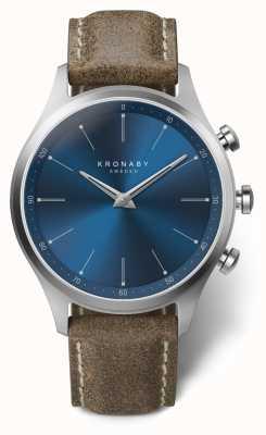 Kronaby Bracelet en cuir truffe à cadran bleu Sekel 41 mm A1000-3759 S3759/1