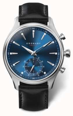 Kronaby Hommes sekel 41 | acier inoxydable | cadran bleu | Cuir noir A1000-3758