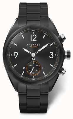 Kronaby Mens apex 41 cadran noir en acier inoxydable bluetooth a1000-3115 S3115/1
