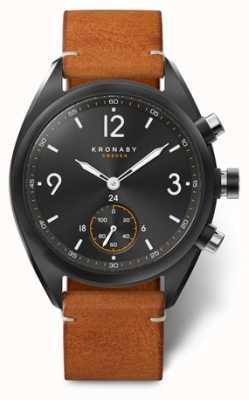 Kronaby Apex 41 cadran noir bluetooth pour homme, cuir marron A1000-3116