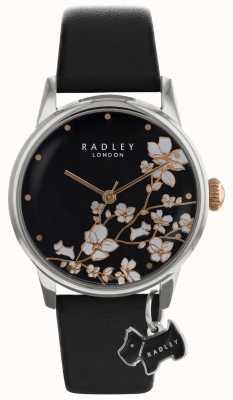 Dames Radley | imprimé de fleurs | cadran noir | bracelet en cuir RY2687