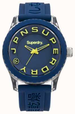 Superdry Tokyo | bracelet en silicone bleu | cadran bleu et jaune SYL146UA