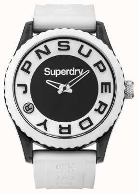 Superdry Urbain | bracelet en silicone blanc | cadran noir et blanc SYG145WA
