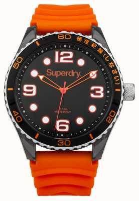 Superdry Bracelet en silicone orange | cadran noir | marqueurs blancs SYG163OA