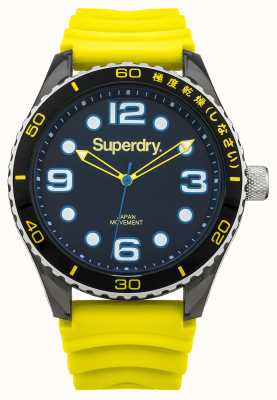 Superdry Bracelet en silicone jaune | cadran noir | accents bleus SYG163YA