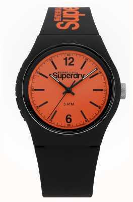 Superdry Urbain | bracelet en silicone noir | cadran orange SYG017BO