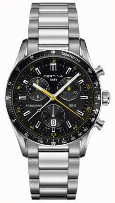 Certina Mens ds-2 | chronographe Precidrive | cadran noir / jaune C0244471105101