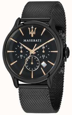 Maserati Epoca Homme 42mm | cadran noir | bracelet en maille noire R8873618006