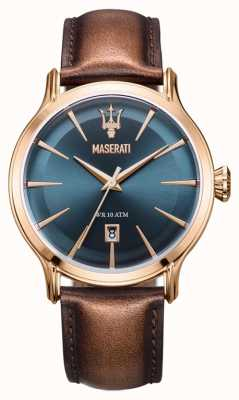 Maserati Epoca Homme 42mm | cadran bleu | bracelet en cuir marron R8851118001