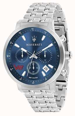 Maserati Hommes gt 44mm | cadran bleu | bracelet en acier inoxydable argenté R8873134002