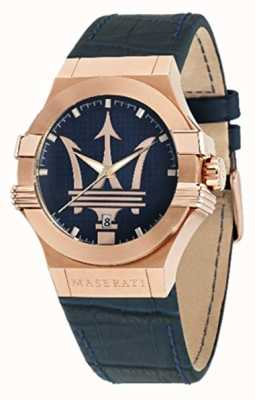 Maserati Potenza Homme 42mm | boîtier plaqué or | cadran bleu R8851108027