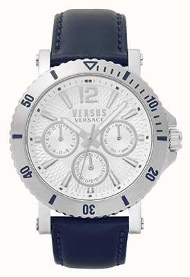 Versus Versace Mens steenberg | cadran argenté | bracelet en cuir bleu VSP520118