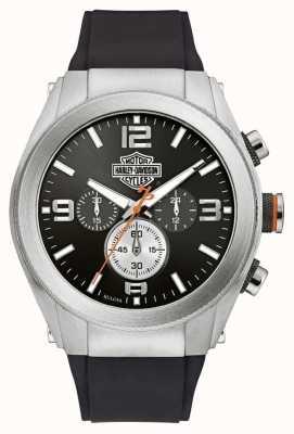 Harley Davidson Chronographe pour homme avec bracelet en caoutchouc et cadran noir 76B176