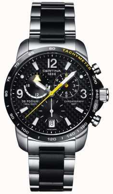 Certina Ds podium gmt chronographe en acier inoxydable carbone noir pour hommes C0016392220701
