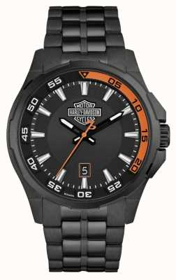Harley Davidson Tableau de bord pour hommes | cadran noir | bracelet en acier inoxydable noir 78B141