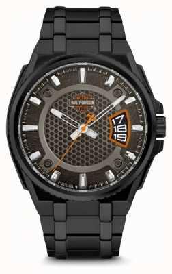 Harley Davidson Hommes pour lui | cadran noir | bracelet en acier inoxydable noir 78B151
