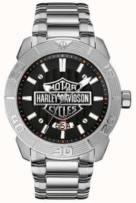 Harley Davidson Bracelet en acier inoxydable pour hommes | cadran noir 76B169