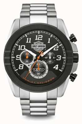 Harley Davidson Chronographe homme | cadran noir | acier inoxydable deux tons 76B175