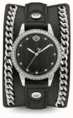 Harley Davidson Womens de la collection de manchette en chaîne | bracelet en cuir noir 76L184