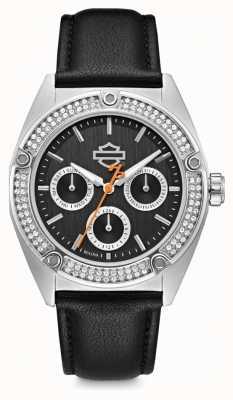 Harley Davidson Ensemble de cristal pour femme | cadran noir | bracelet en cuir noir 76N102