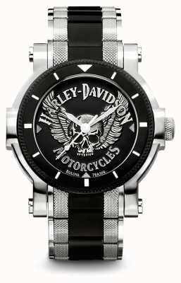 Harley Davidson Bracelet en acier inoxydable deux tons pour hommes | cadran noir 78A109