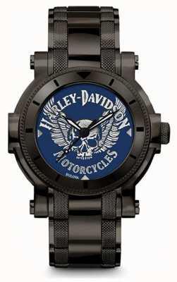 Harley Davidson Hommes pour lui | bracelet en acier inoxydable noir | cadran bleu 78A117