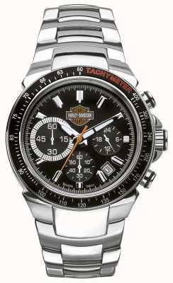 Harley Davidson Chronographe pour homme   cadran noir   acier inoxydable argenté 78B113